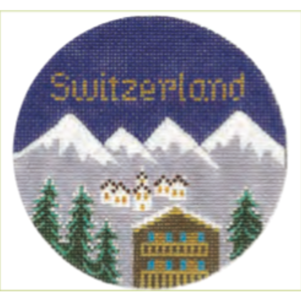 "Switzerland 4 1/4"" Travel Round Needlepoint Canvas - needlepoint"