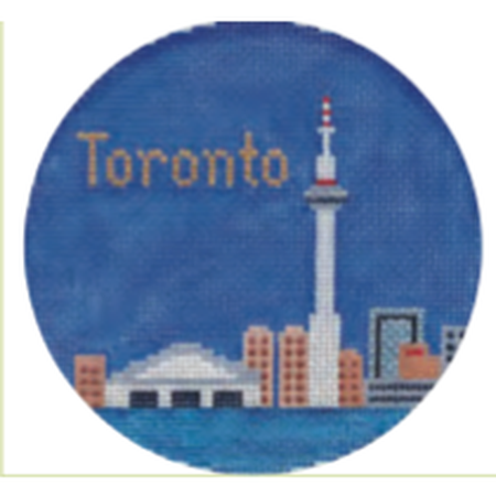 "Toronto 4 1/4"" Round Needlepoint Canvas - needlepoint"