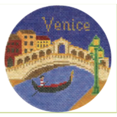 "Venice 4 1/4"" Travel Round Needlepoint Canvas-Needlepoint Canvas-Silver Needle-KC Needlepoint"
