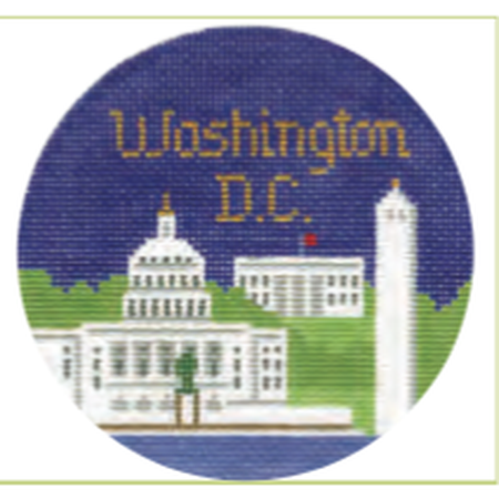 "Washington DC 4 1/4"" Travel Round Needlepoint Canvas-Needlepoint Canvas-Silver Needle-KC Needlepoint"
