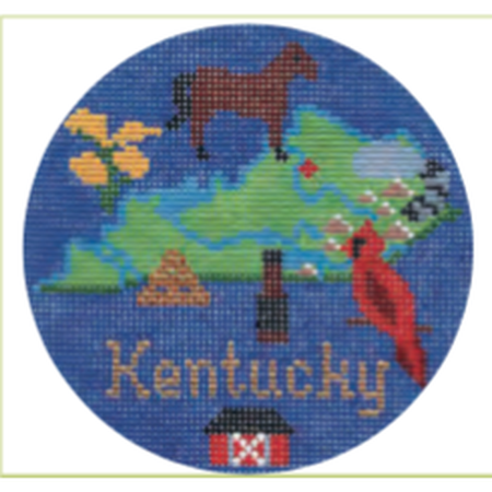 "Kentucky 4 1/4"" Travel Round Needlepoint Canvas-Needlepoint Canvas-Silver Needle-KC Needlepoint"
