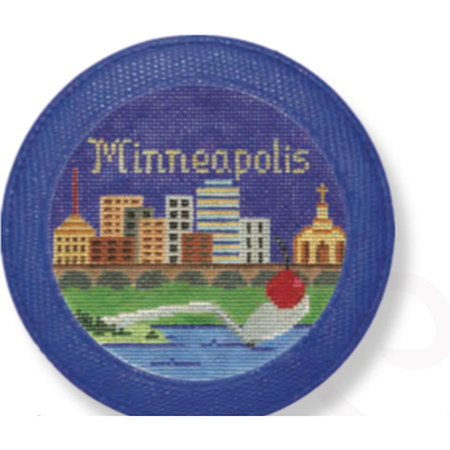 Leather Magnet/Coaster - needlepoint