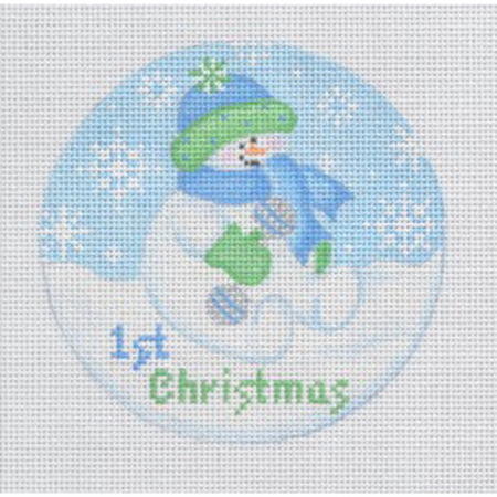 Baby Snowboy Ornament Canvas-Needlepoint Canvas-Pepperberry Designs-KC Needlepoint