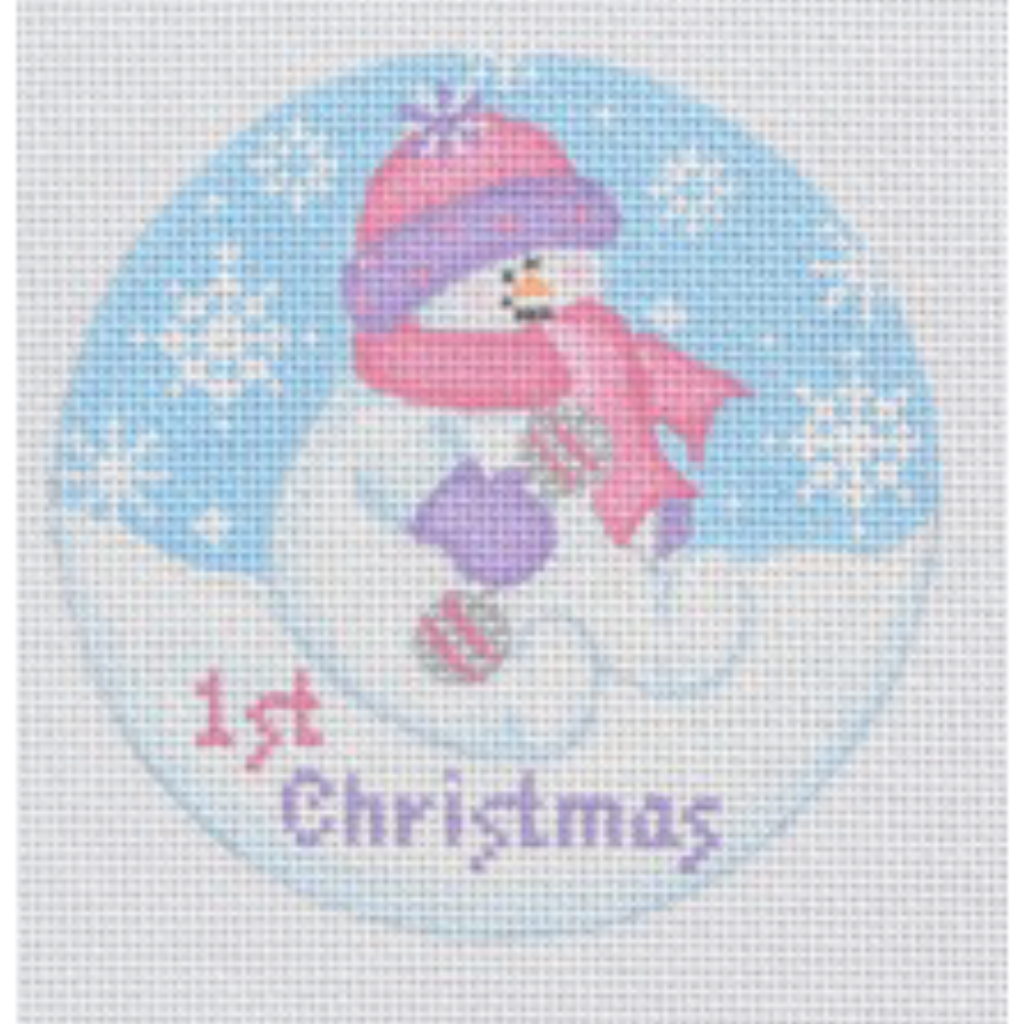 Baby Snowgirl Ornament Canvas-Needlepoint Canvas-Pepperberry Designs-KC Needlepoint