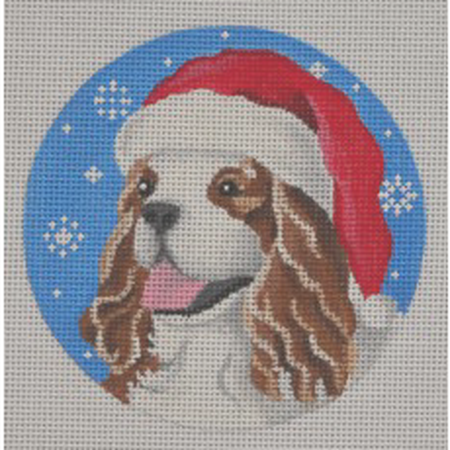 Cavalier Santa Ornament Canvas - needlepoint