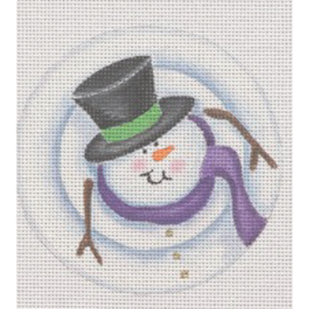 Stacked Snowman Sam Ornament Canvas - KC Needlepoint