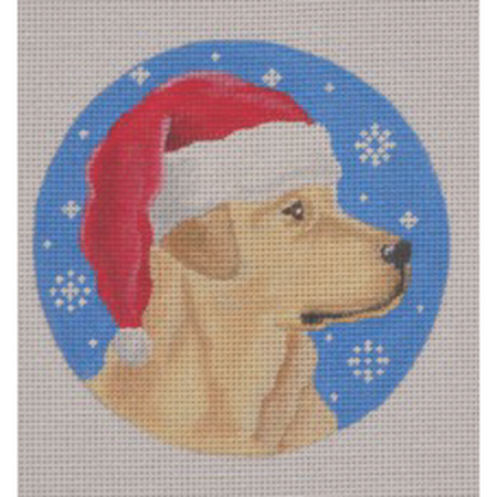 Yellow Lab Santa Ornament Canvas - needlepoint