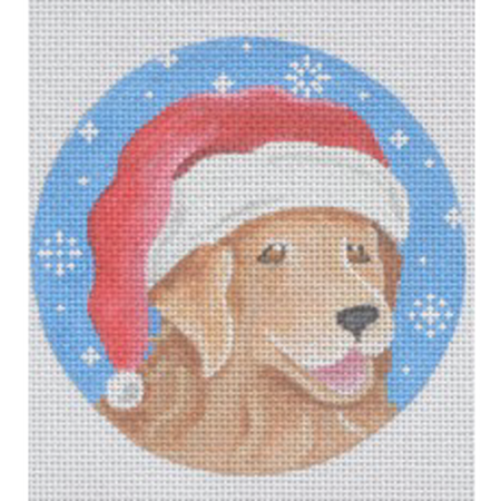 Golden Retriever Santa Ornament Canvas - needlepoint