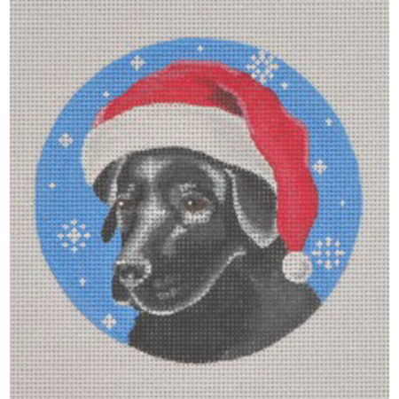 Black Lab Santa Ornament Canvas - needlepoint