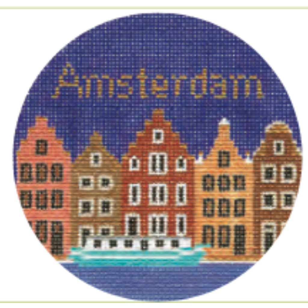 "Amsterdam 4"" Travel Round Ornament Canvas-Silver Needle-KC Needlepoint"