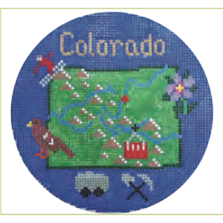 "Colorado 4 1/4"" Round Needlepoint Canvas - needlepoint"