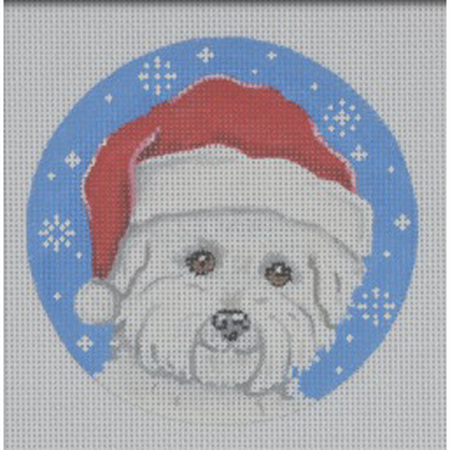 Bichon Santa Ornament Canvas - KC Needlepoint