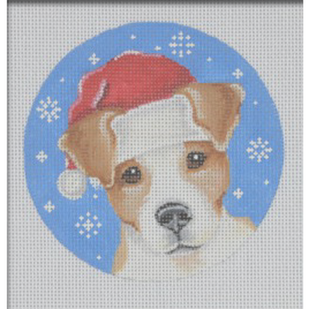 Jack Russell Santa Ornament Canvas-Needlepoint Canvas-Pepperberry Designs-KC Needlepoint