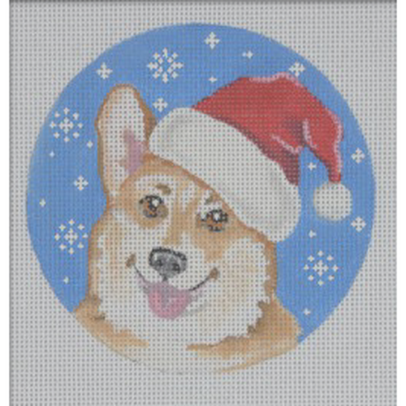 Corgi Santa Ornament Canvas - needlepoint