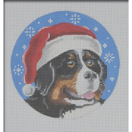 Bernese Santa Ornament Canvas-Needlepoint Canvas-Pepperberry Designs-KC Needlepoint