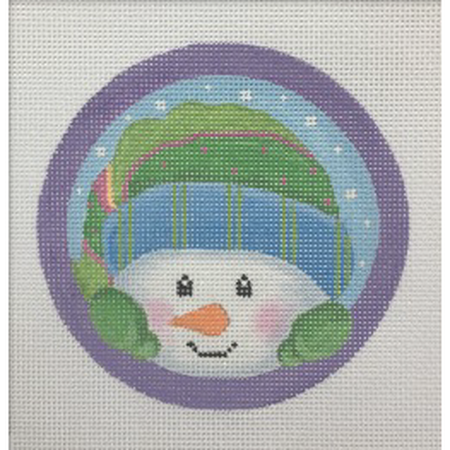 Peeking Snowman Ornament Canvas-Needlepoint Canvas-Pepperberry Designs-KC Needlepoint