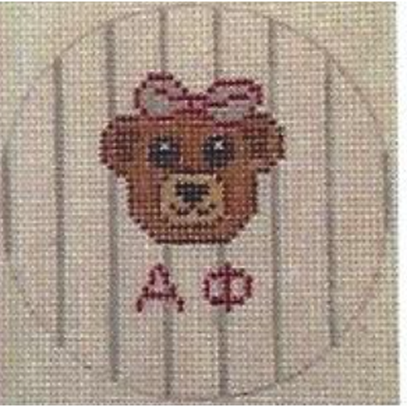 "Alpha Phi</br> 3"" Round Canvas-Needlepoint Canvas-Kangaroo Paws-18 mesh-KC Needlepoint"