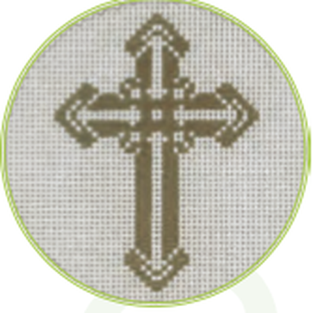 "Gold Cross B 3"" Round Canvas - needlepoint"