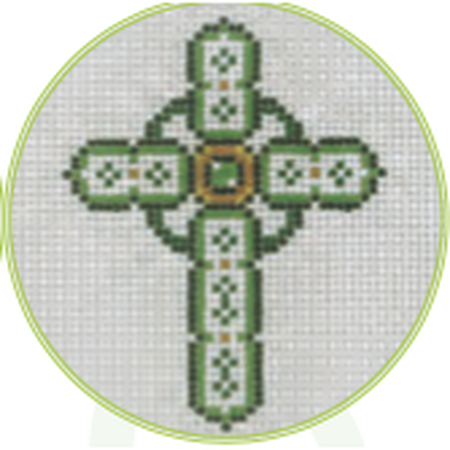 "Green Cross 3"" Round Canvas - needlepoint"