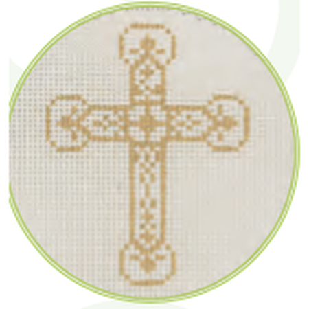 "Gold Cross C 3"" Round Canvas - needlepoint"