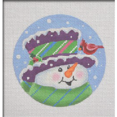 Topper Snowman Ornament Canvas-Needlepoint Canvas-Pepperberry Designs-KC Needlepoint
