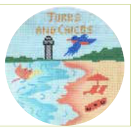 "Turks & Caicos 4"" Travel Round Needlepoint Canvas-Needlepoint Canvas-Colonial Needle-KC Needlepoint"