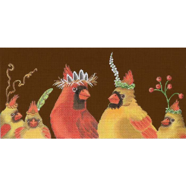 Cardinal Family Needlepoint Canvas - needlepoint