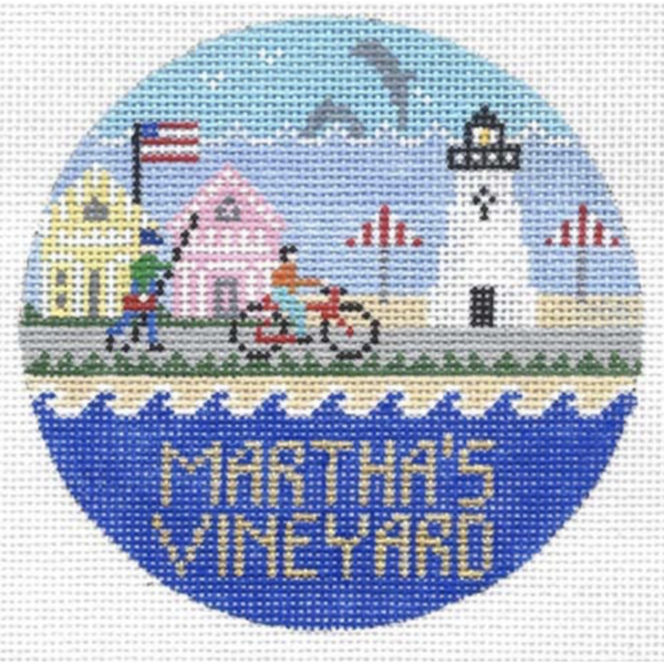 Martha's Vineyard Round Needlepoint Canvas - needlepoint