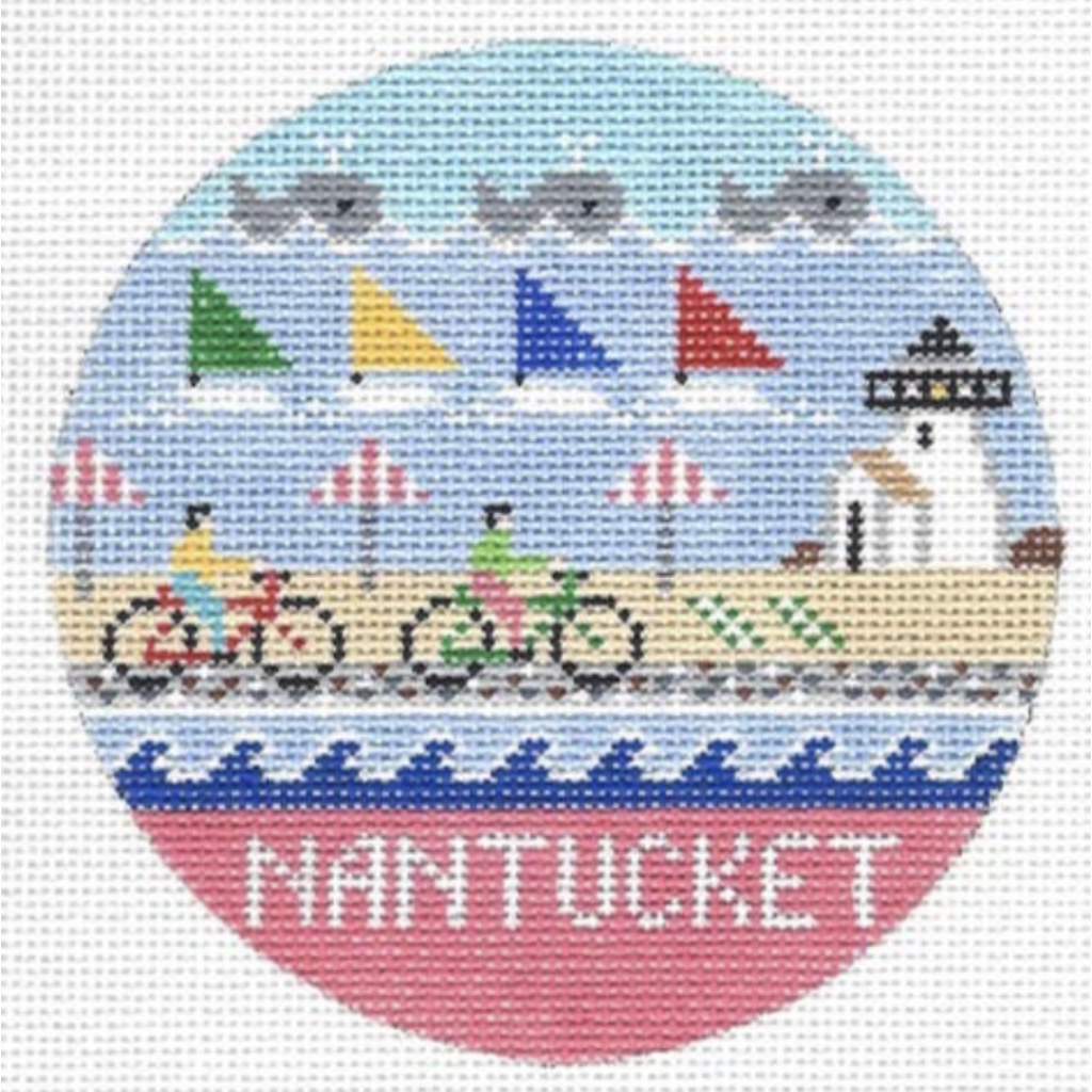Nantucket Travel Round Needlepoint Canvas-Needlepoint Canvas-Doolittle Stitchery-KC Needlepoint