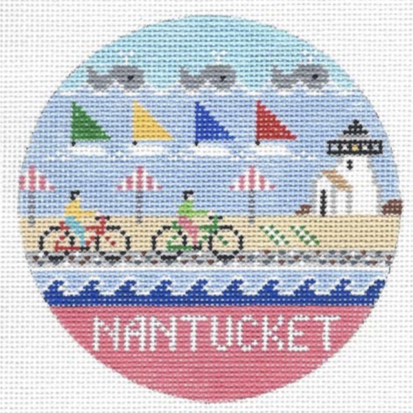 Nantucket Round Needlepoint Canvas - needlepoint
