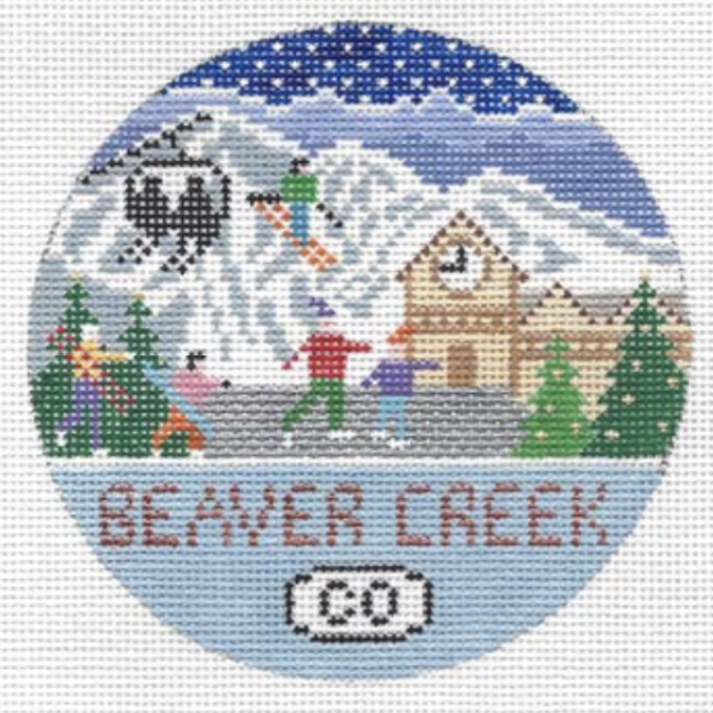 Beaver Creek Round Needlepoint Canvas - needlepoint