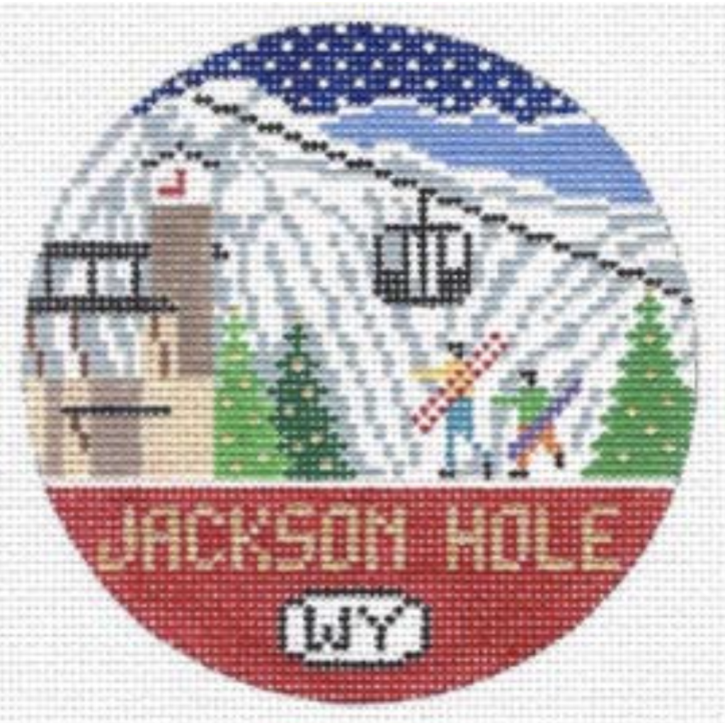 Jackson Hole Travel Round Needlepoint Canvas-Needlepoint Canvas-Doolittle Stitchery-KC Needlepoint