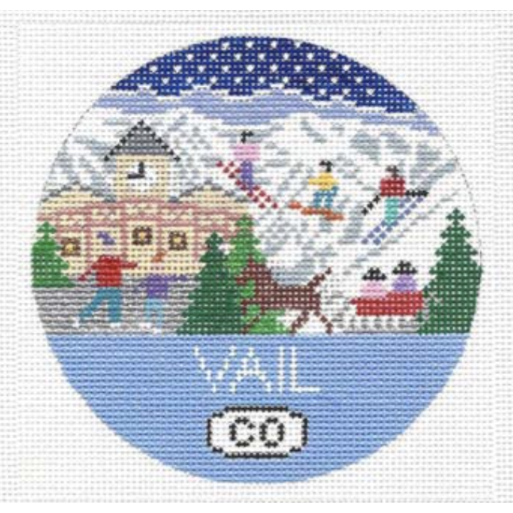 Vail Travel Round Needlepoint Canvas-Needlepoint Canvas-Doolittle Stitchery-KC Needlepoint