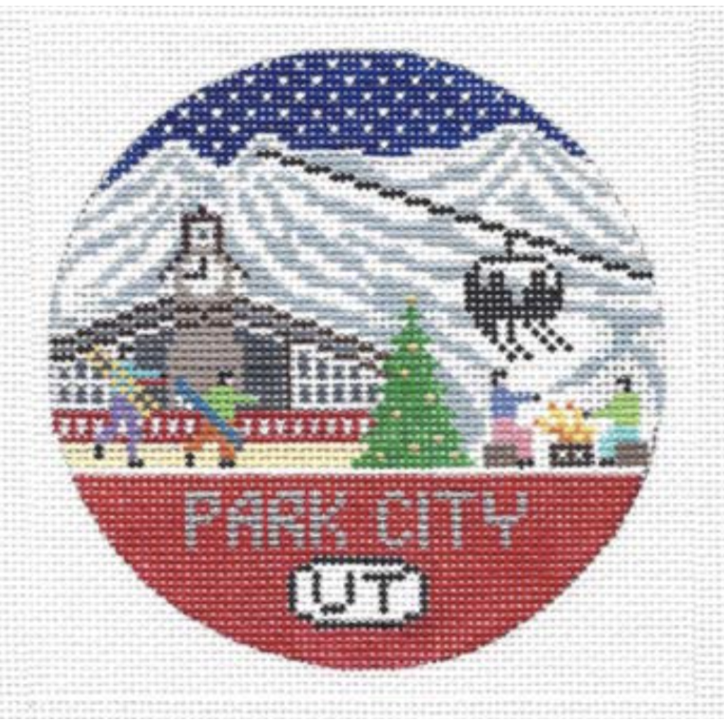 Park City Travel Round Needlepoint Canvas-Needlepoint Canvas-Doolittle Stitchery-KC Needlepoint