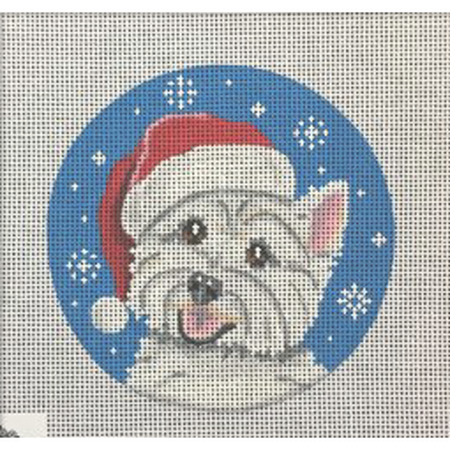 Westie Santa Ornament Canvas-Needlepoint Canvas-Pepperberry Designs-KC Needlepoint