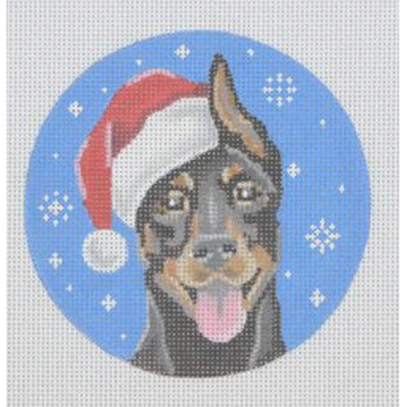 Doberman Santa Ornament Canvas - needlepoint