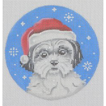 Shih Zhu Santa Hat Ornament Canvas-Needlepoint Canvas-Pepperberry Designs-KC Needlepoint