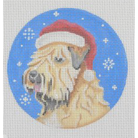 Wheaten Terrier Santa Ornament Canvas-Needlepoint Canvas-Pepperberry Designs-KC Needlepoint