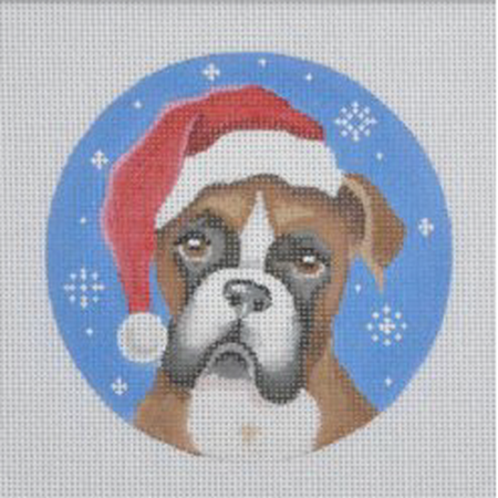 Boxer Santa Ornament Canvas - needlepoint