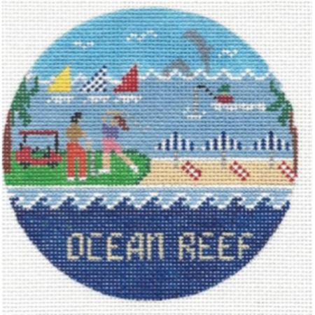Ocean Reef Travel Round Canvas-Needlepoint Canvas-Doolittle Stitchery-KC Needlepoint
