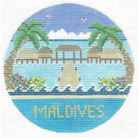 Maldives Travel Round Canvas-Needlepoint Canvas-Doolittle Stitchery-KC Needlepoint