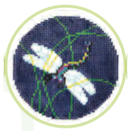 "Dragonfly 3"" Round Canvas-Needlepoint Canvas-Lee's Needle Arts-KC Needlepoint"