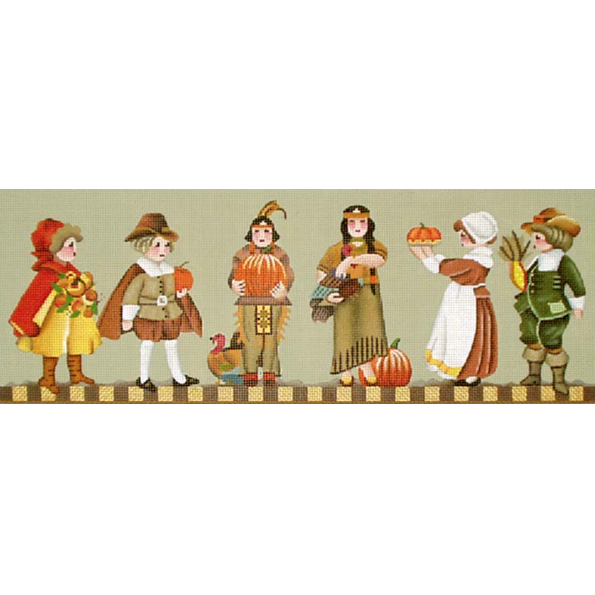 Thanksgiving People Needlepoint Canvas