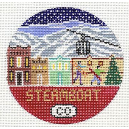 Steamboat Travel Round Needlepoint Canvas-Needlepoint Canvas-Doolittle Stitchery-KC Needlepoint