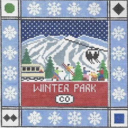 Winter Park Square Canvas - needlepoint