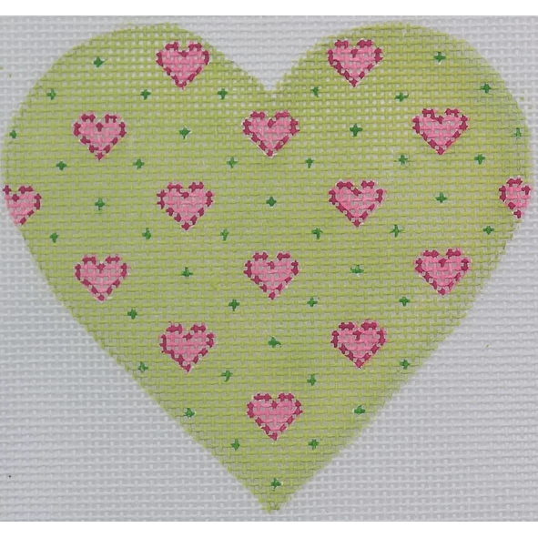 Lime Heart Canvas-Needlepoint Canvas-Kate Dickerson-18 mesh-KC Needlepoint
