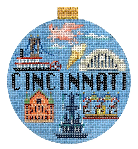 Cincinnati Travel Round Canvas - needlepoint