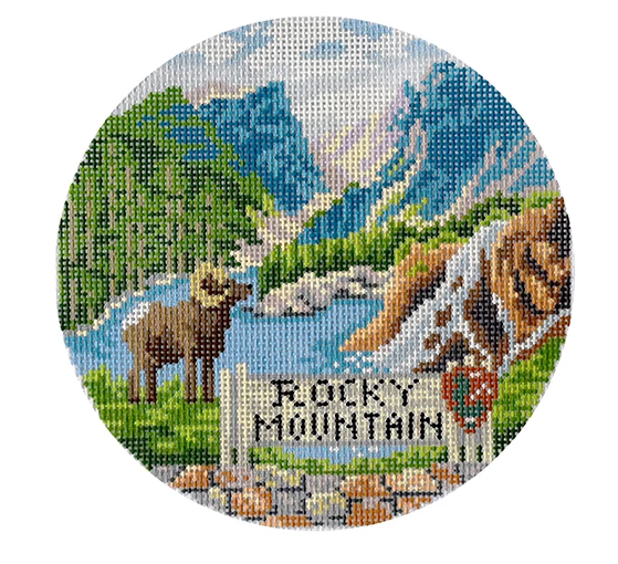 Rocky Mountain Travel Round Canvas - needlepoint