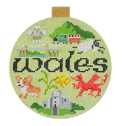 Wales Travel Round Needlepoint Canvas