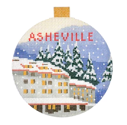 Asheville Travel Round Needlepoint Canvas
